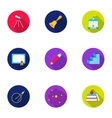 School set icons in flat style Big collection of vector image vector image