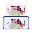 selfie flat self-portrait photograph men woman vector image