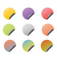 set circle stickers with corners vector image