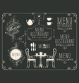 set drawings on theme restaurant menu vector image