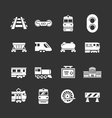 set icons railroad and train vector image