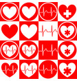 set medical emblems with image heart vector image vector image