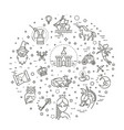 simple set fantasy related line icon vector image vector image