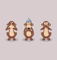 three wise monkeys and conspiracy theories concept vector image