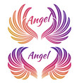 bright angel wings emblem vector image