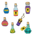 set of cute hand drawn bottles with poison for vector image