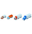 3d isometric trucks lorries shipping vector image vector image