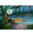 A canoe in a mysterious forest vector | Price: 1 Credit (USD $1)