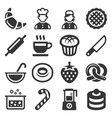 bakery and pastries cooking icons set on white vector image vector image