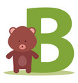 bear alphabet b vector image