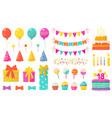 birthday decoration kids party design elements vector image