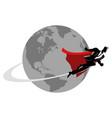 businessman flying around world vector image