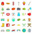 camp walking icons set cartoon style vector image vector image