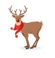 cartoon christmas funny rudolph red vector image vector image