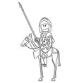 cartoon knight in armor and with lance vector image