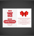 christmas card with giftbox and red bow vector image vector image