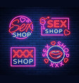 collection logo sex shop night sign in neon style vector image vector image