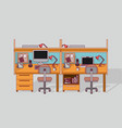 colorful background double work place office vector image vector image