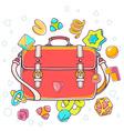 Colorful of red shoulder bag on white backgr vector image