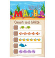 count number math worksheet vector image