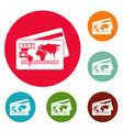 credit card icons circle set vector image