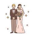 cute newlywed couple isolated on white background vector image