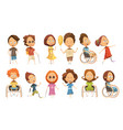 disabled kids set vector image vector image
