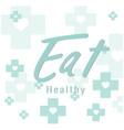 eat healthy blue cross heart background ima vector image vector image