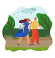 family on vacation in park or forest people vector image vector image