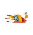 fast funny snail cute cartoon mollusk character vector image vector image