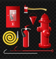 firefighting equipment - set of realistic vector image