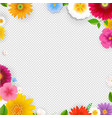 frame with flowers transparent background vector image