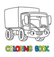 funny small lorry with eyes coloring book vector image vector image