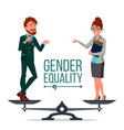 gender equality man and woman standing on vector image