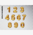 golden numbers set isolated realistic gold shiny vector image vector image