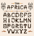 hand drawn pattern with tribal font typeface and vector image vector image
