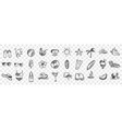 hand drawn summer symbols doodle set vector image vector image