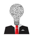 idea concept with cogs inside big bulb and suit vector image vector image