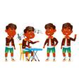 indian boy kindergarten kid poses set baby vector image vector image