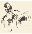 Jazz poster Man playing saxophone drawn sketch vector image vector image