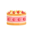 Jelly Cake With Strawberries And Orange Decorated vector image
