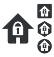 Locked house icon set monochrome vector image