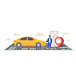 man using smartphone ordering taxi mobile vector image vector image