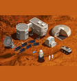 mars colonization isometric background vector image vector image