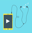 Mobile phone with earphones vector image
