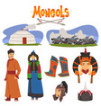 mongol people in traditional clothing collection vector image vector image