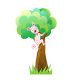 monster sitting on tree for kids party vector image
