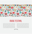 music festival concept with thin line icons vector image vector image
