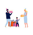 parents and bamom dad wish son happy birthday vector image vector image