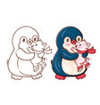 penguin and a pig vector image vector image